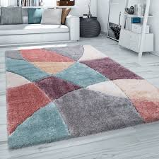 hochflor teppich wohnzimmer shaggy 3d muster modern pastell grau rot beige