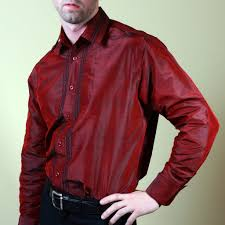 nawab red embroidered mens silk shirt shubrah