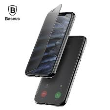 Baseus Luxury Flip Case For iPhone X Touchable Tempered Glass