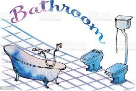postkarte bemalte badezimmer badezimmer auf beinen antik toilette mit erhöhten zisterne und bidet boden fliesen isoliert geschrieben bad stock vektor