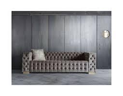 canapé velours gris canapé capitonné de 250 cm gris clair en velours