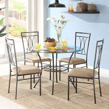 Details About 5-Piece Glass And Metal Dining Set Kitchen Dining Room  Dinette Table And Chairs