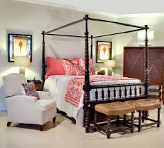 Cool Coral And Aqua Bedding Vogue Other Metro Traditional Bedroom Remodeling Ideas With Crown Molding Four Poster Bed Leather Stools Barley Twist Legs