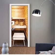 knflurnn kreative sauna tür aufkleber 3d wallpaper
