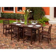 7 Piece Patio Dining Set by Polywood La Casa Cafe White 7 Piece Plastic Outdoor Patio Dining
