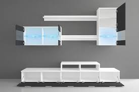 glanzlack wohnwand wohnzimmer wohnzimmerschrank anbauwand esszimmer mit leds weiß matt und schwarz lackiert maße 250 x 194 x 42 cm tiefe