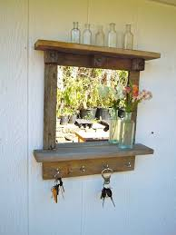 Reclaimed Wood Rustic Craftsman Style Mirror With Shelves And Hooks
