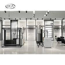 Modern Men Clothing Shop Displays Retail Slatwall Clothes Rack And Metal Gondola With Shelf