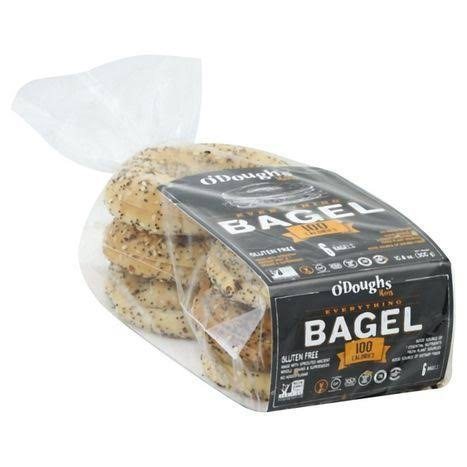 O'doughs Thins Bagels, Gluten Free, Everything - 6 bagels, 10.6 oz