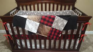 Arrow Crib Bedding by Woodland Boy Crib Bedding Gray Buck Deer Skin Minky White Gray