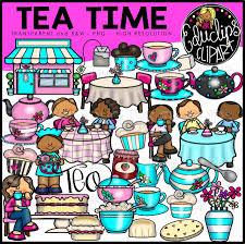 Tea Time Clip Art Bundle Color And BW