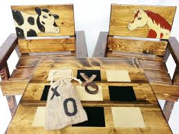 Outdoor Table And Chairs, Kids Game Table And Chairs, Wood Table And  Chairs, Toddler Game Table And Chairs, Engraved Horse / Cow