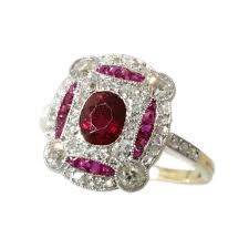 deco ruby and ring deco ruby ring yellow gold 18k engagement ring 1920s