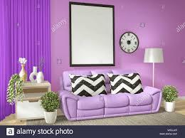 innenraum titelbild mock up wohnzimmer mit lila wand andl