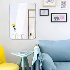 egleson groß spiegel 50x70cm mit silber metallrahmen badenzimmer wand hd hängespiegel für wohn kinder order schlafzimmer