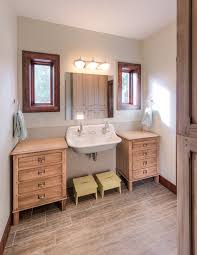 Double Faucet Trough Sink Vanity by Kohler Faucets In Bathroom Transitional With Double Faucet Sink