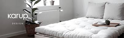 karup design roots 2 sitzer futon schlafsofa im skandinavischen stil sofa mit schlaffunktion im natur holz mit grau matratze 140 x 200 gestell