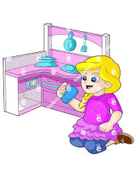 A Blonde Little Girl Playing With Toy Kitchen Set