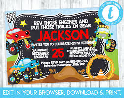 Monster Truck Invitation Truck Party Invite Car Party | Etsy Monster Truck Party Printables Set Birthday By Amandas Parties Invitation In 2018 Brocks First Birthday Invite Car Etsy Fire Invitations Tonka Envelopes Engine Online Novel Concept Designs Jam Free British Decorations Supplies Canada Open A The Rays Paxtons 3rd Party Trucks 1st 2nd 4th Ticket Iron On Blaze And The Machines Baby Shark Song Printable P