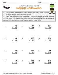Halloween Math Multiplication Worksheets by Halloween Math Multiplying Decimals Worksheets Differentiated Tpt