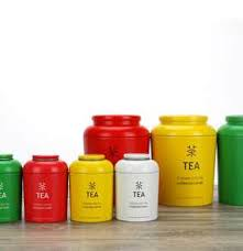 Tea Caddy Tin Storage Coffee Powder Cans Container Box