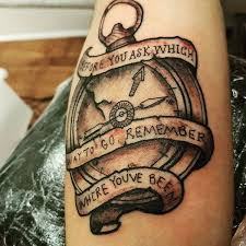 Broken Compass Tattoo With Ribbon For Men