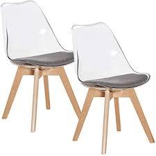 eggree 2er set transparent stühle skandinavisch esszimmerstuhl wohnzimmerstuhl mit grauem stoffkissen und buchenholzbeine