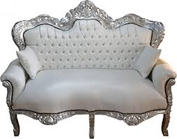 casa padrino barock 2 er sofa king weiß lederoptik silber