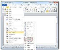 Shot Watermark Command In Word 2007 2010 File Menu