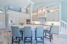 Fabulous Light Blue And White Kitchen With Vaulted Ceiling Recessed Lighting Pie Shaped