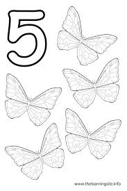 Coloring Page Outline Number Five Butterflies
