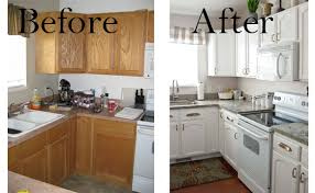Cool Painted Kitchen Cabinets Before And After White Painting The