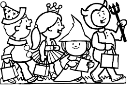 Kids In Halloween Costumes Coloring Page