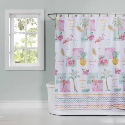 Saturday Knight Shower Curtain - Flamingo Fever - Fabric 70 x 72