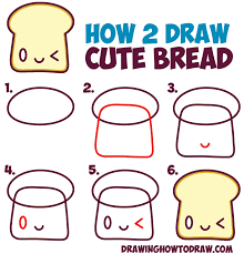 How To Draw Cute Kawaii Bread Slice With Face It Easy Step By