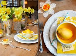 Sunny Citrus Spring Table We Love The Combination Of Bright Yellow Lemons And Daffodils In This Scene Now They Just Need A Batch Lemon Tea
