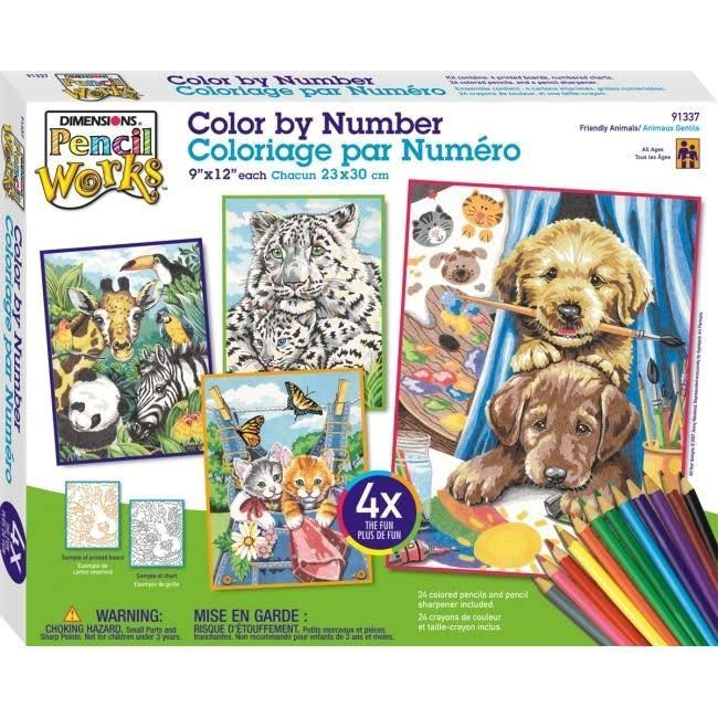 Dimensions Pencil Works Color by Number Kit - Friendly Animals