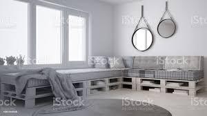 unvollendetes projekt entwurf skandinavische minimalistische wohnzimmer mit diy palette sofa zeitgenössische architektur innenarchitektur stockfoto