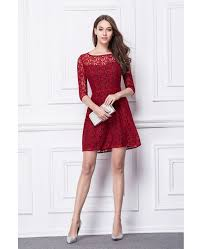 chic a line lace short wedding party dress with sleeves dk338