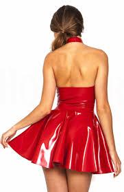 red halter pvc clubwear dress n10991