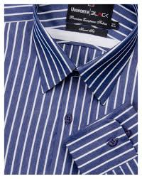 navy blue with white striped dress shirt uniworth black