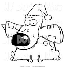 Clip Art Of A Coloring Page Christmas Dog With News