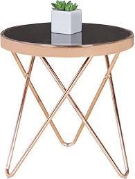 finebuy design couchtisch mini ø 42 cm rund glas kupfer lounge beistelltisch verspiegelt moderner wohnzimmertisch glastisch sofatisch