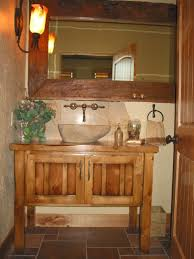 Decoration Wondrous Rustic Style Bathroom Vanities With Natural Stone Vessel Sinks On Solid Wood Cabinets Also