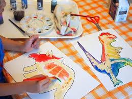 Preschool STEM And Art Project Tape Resist Dinosaur Watercolor Paintings