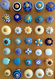 Pink Flower Dresser Knobs by New Blue White U0026 Cream Ceramic Drawer Knobs Cupboard Door Knobs