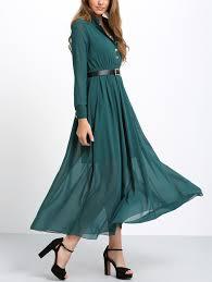 green long sleeve buttons maxi dress shein sheinside