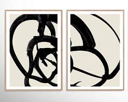 Popular Items For Black And White Abstract Art