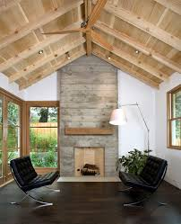 Rustic Basement Ceiling Ideas Living Room Transitional With Wood Fan Leather Chair Vaulted