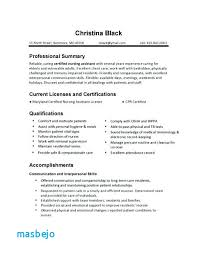 Cna Resumes Examples Sample Resume Qualifications And Skills Certified Nursing